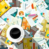 Paperwork Background. Top View Forms, Tax and Documents on Table with Coffee Cup. Vector Flat Design Illustration Royalty Free Illustration