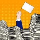 paperwork Biznesmen ręka z białą flaga Biurowy biurko ładujący papierkowa robota, faktury i mnóstwo papiery, dokumenty ilustracji