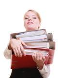 paperwork Bizneswomanu przewożenia sterta dokumenty fotografia royalty free
