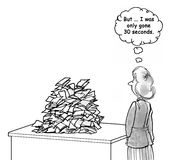 Paperwork. Business cartoon about a never ending stack of paperwork Stock Photo