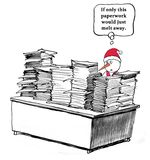 Paperwork. Business cartoon about too much paperwork Stock Images