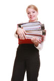 Paperwork. Businesswoman carrying stack of documents. Business and paperwork. Busy businesswoman carrying stack of folders with files documents isolated on white Stock Images