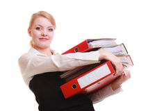 Paperwork. Businesswoman carrying stack of documents Royalty Free Stock Photo