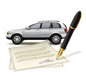 Paperwork for car Royalty Free Stock Image