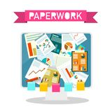 Paperwork Design on Computer Screen. Vector Illustration Stock Photo