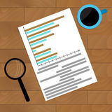 Paperwork with diagram and infochart. Vector accounting report illustration Stock Image