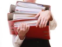 paperwork Documenti in mani della donna di affari fotografia stock