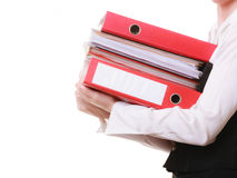 Paperwork. Documents in hands of businesswoman Royalty Free Stock Photography
