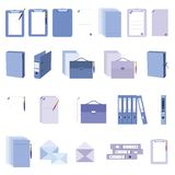 Paperwork and documents icons set. Set of 22 icons isolated Stock Image