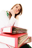 paperwork Donna sovraccarica di medico con i documenti Fotografia Stock