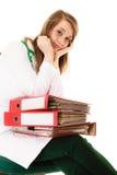 paperwork Donna sovraccarica di medico con i documenti Fotografie Stock Libere da Diritti