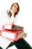 paperwork Donna sovraccarica di medico con i documenti Immagini Stock
