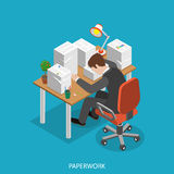 Paperwork isometric flat vector concept. Office worker is very tired  sitting at the table with his head is lain on the paper pile Royalty Free Stock Photos