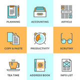 Paperwork in office line icons set. Line icons set with flat design elements of office accounting and clerk working routine,  business planning, paperwork Stock Images