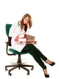 Paperwork. Overworked doctor woman with documents. Medicine and paperwork. Tired overworked busy doctor woman with stack of folders with files documents isolated Stock Photo