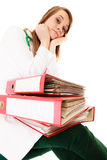 Paperwork. Overworked doctor woman with documents Royalty Free Stock Photography