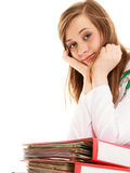 Paperwork. Overworked doctor woman with documents. Medicine and paperwork. Tired overworked busy doctor woman with stack of folders with files documents isolated Royalty Free Stock Photo