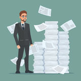 Paperwork and overworked, of an employee engaged in work. With documents on the background large stacks of papers. Business concept. Vector creative color vector illustration