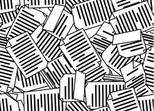 Paperwork Pattern Texture. Paperwork documents abstract stylized, seamless texture pattern, vector illustration black and white, horizontal background Royalty Free Stock Photo