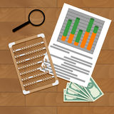 Paperwork report economy. Vector market file finance, illustration of statistic calculate data Royalty Free Stock Image