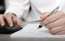 Paperwork, tax, money and bank Stock Image