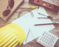 Paperwork with writing materials for architecture on table Royalty Free Stock Photos
