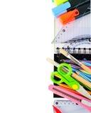 Papeterie d'école d'isolement au-dessus du blanc Photographie stock libre de droits