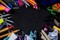 Papeterie d'équipement pour l'éducation à l'école Photo stock
