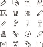 Papeterie et icônes de fourniture de bureau Image stock
