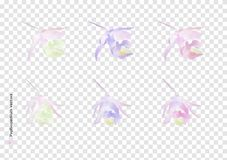 Paphiopedilum flowers vectors with watercolor brush isolated on transparency background, beautiful floral element design for decor stock illustration