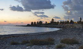 Paphos Airport Beach. At Sunset, Cyprus Royalty Free Stock Photo