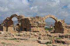 Paphos Archaeological Park. Castle Saranta Kolones Stock Photography