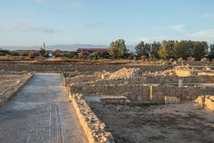 Paphos Archaeological park in the light of the evening sun Royalty Free Stock Image