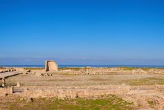 Paphos archeologisch park in Kato Pafos in Cyprus, panorama Royalty-vrije Stock Foto
