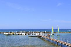 Paphos beach boats in Cyprus Stock Image