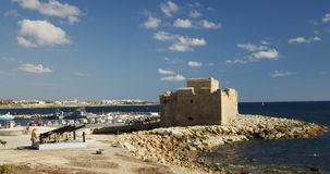 Paphos Castle and calm sea stock video