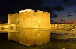 Paphos  Castle , Cyprus. Paphos Castle in Cyprus late in the evening Royalty Free Stock Photos