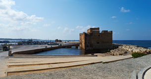 Paphos castle at harbor in Cyprus Royalty Free Stock Photo