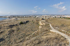 Paphos cityscape and ancient city wall ruins in Cyprus Stock Images