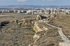 Paphos cityscape and ancient city wall ruins in Cyprus. Paphos cityscape. Residential district and ancient city wall ruins. Paphos is a Mediterranean coastal Stock Images