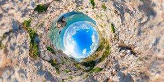 Утес Афродит Стереографическая проекция Район Paphos Cypr Стоковая Фотография