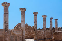 PAPHOS, CYPRUS/GREECE - JULY 22 : Ancient Greek ruins in Paphos Stock Photos