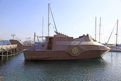 Nautilus underwater simulator touristic travel boat moored in Pa. PAPHOS, CYPRUS - JANUARY 12, 2018: Nautilus underwater simulator touristic travel boat moored Stock Photos
