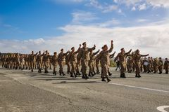 Oath day in Cyprus army. Paphos, Cyprus - January 30, 2015 - Young Cypriot soldiers on a military Oath day in army Royalty Free Stock Images