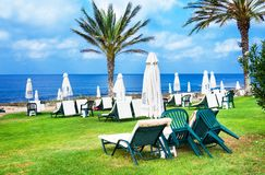 Palm beach with empty sunbeds against Constantinou Bros Athena Beach Hotel. The hotel was fully re. Paphos, Cyprus - July 20, 2017: Palm beach with empty sunbeds Royalty Free Stock Images