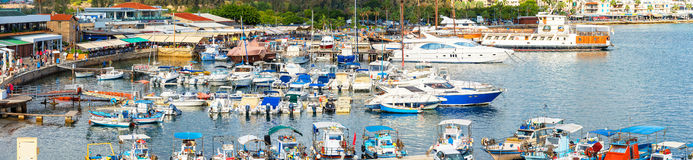 PAPHOS, CYPRUS - NOVEMBER, 1 2014: Harbor view from the roof of Royalty Free Stock Photo