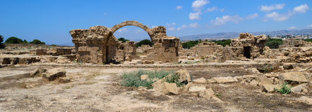 Paphos Cyprus 2011. Panorama of ruins. In Archaeological park. JPEG. SRGB Royalty Free Stock Photography