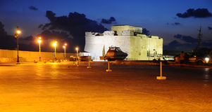 Paphos fort in night Royalty Free Stock Photography