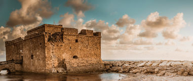 Paphos fort. Panoramic view. Cyprus Royalty Free Stock Photos