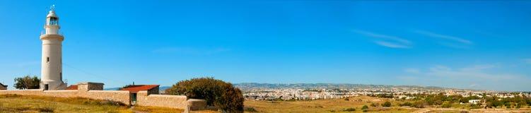 Paphos fyr Panorama- foto Arkivbild